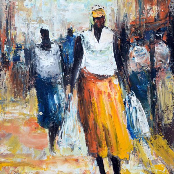 Gemelde von Barry Lungu: Auf dem Weg vom Markt