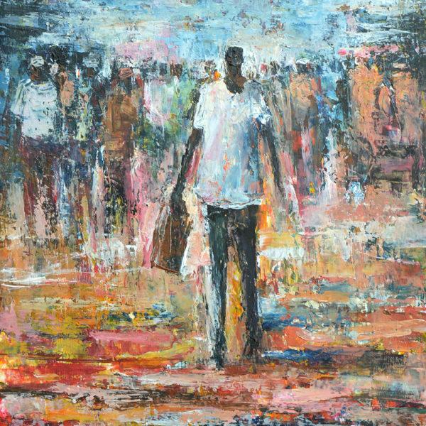 Gemelde von Barry Lungu: Mann mit einer Einkaufstasche